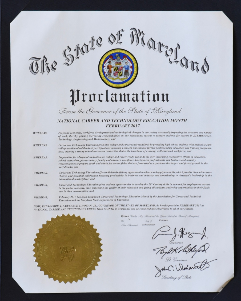 2017 CTE Month Governor Proclamation Image