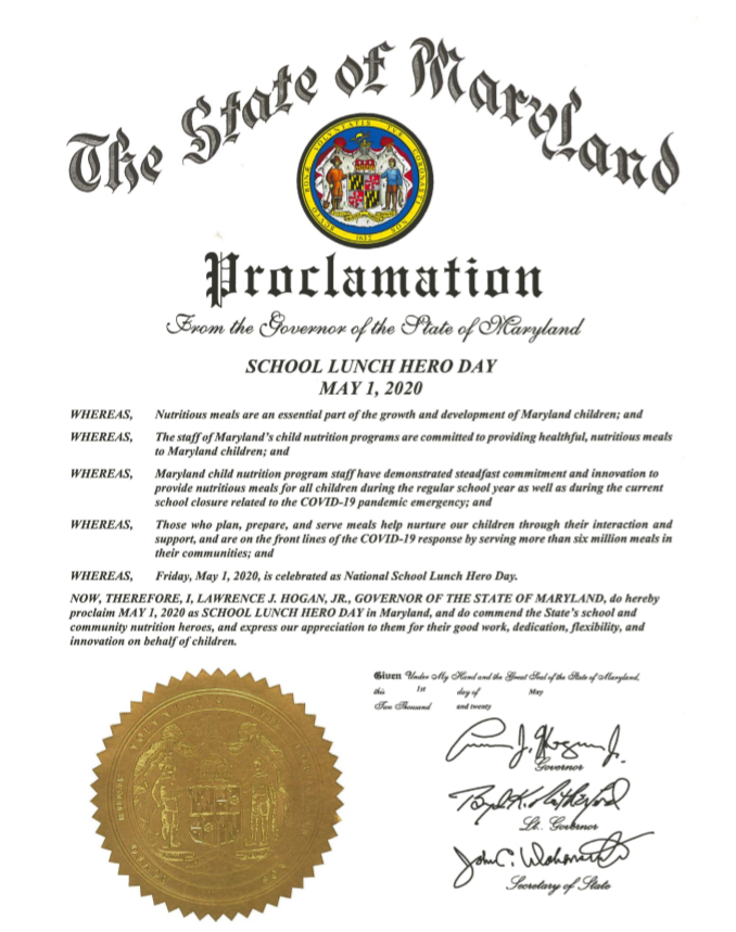 School Lunch Here Day (May 1,2020) State Proclamation