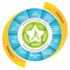 The USDA WSCC Model outlining the 10 components for adressing health in schools.
