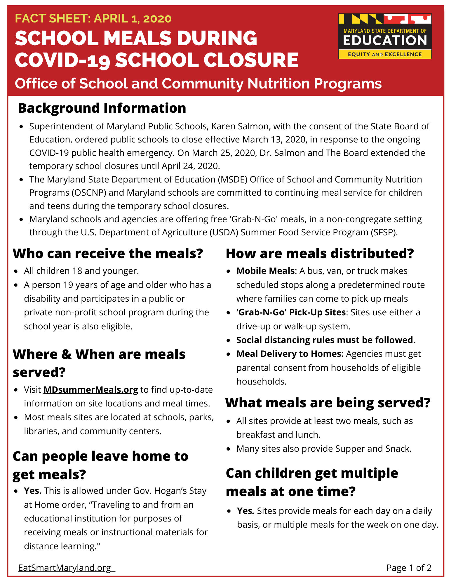 Fact Sheet-School Meals During COVID-19